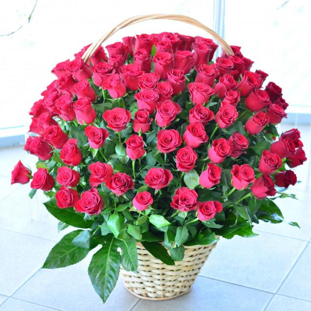 Букет №214 101 роза в корзине